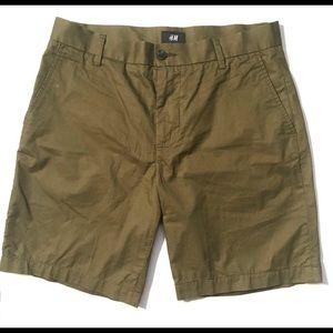 H&M Army Green Military Chino Shorts - 33